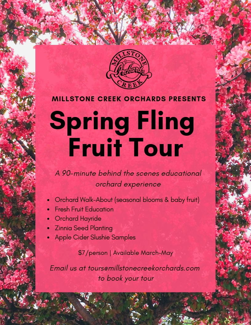 Spring Fling Fruit Tour - Length: 90 minutesCost: $7 / PersonAvailable: March – MayOrchard Walk-About (Season Blooms & Baby Fruit)Fresh Fruit EducationOrchard HayrideTalk Home Goodie ~ Zinnia Seed PlantingApple Cider Slushie Sample