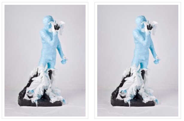Adad Hannah.  Unwrapping Rodin   (Blue) 3  (Left) and  4  (Right), 2010. C-print. 175.25 x 127 cm (69″ x 50″). Edition of 2.