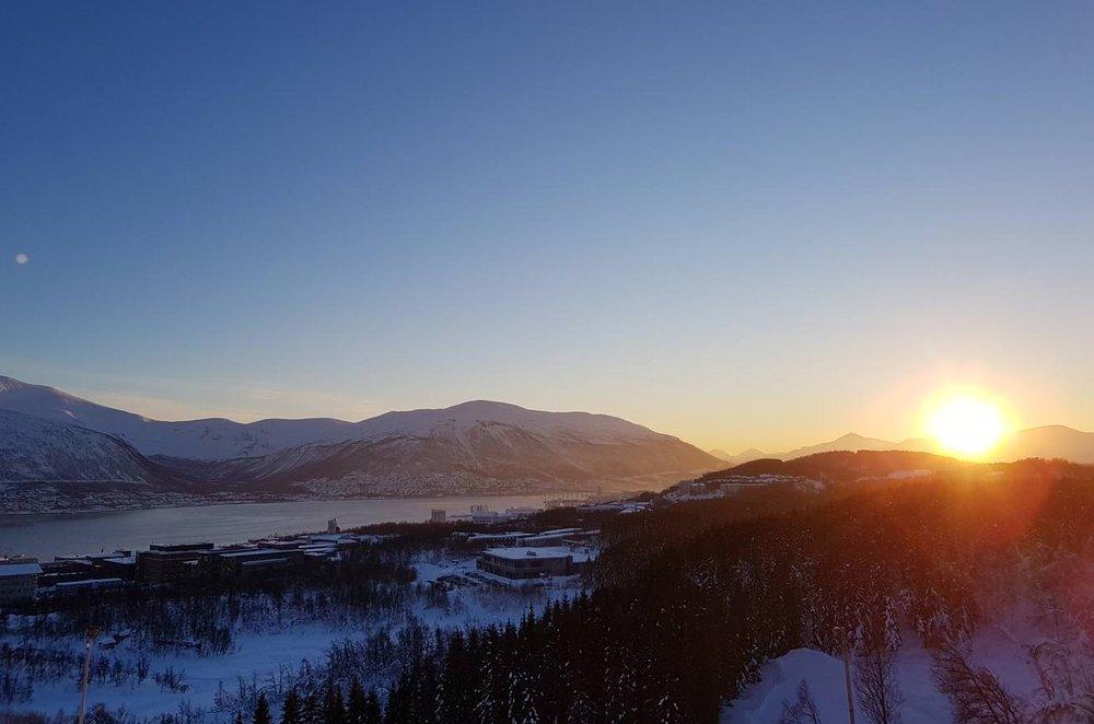 Utsikt fra hoppbakken i Tromsø.