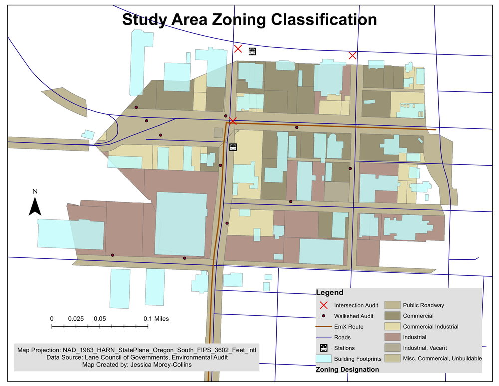 Zoning summary for environmental analysis of a new public transportation line in Eugene, Oregon.