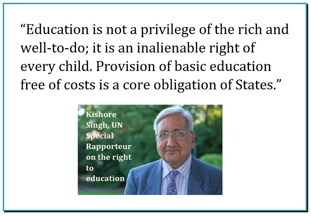 Statement of the UN Special Rapporteur on the right to education, February 2015: http://bit.ly/1A32Shi