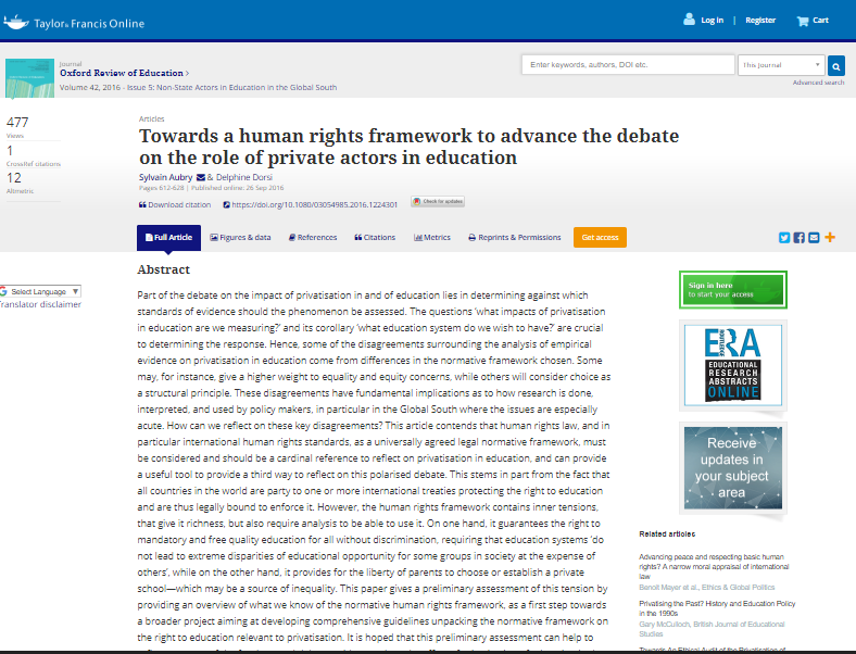 Towards a human rights framework to advance the debate on the role of private actors in education