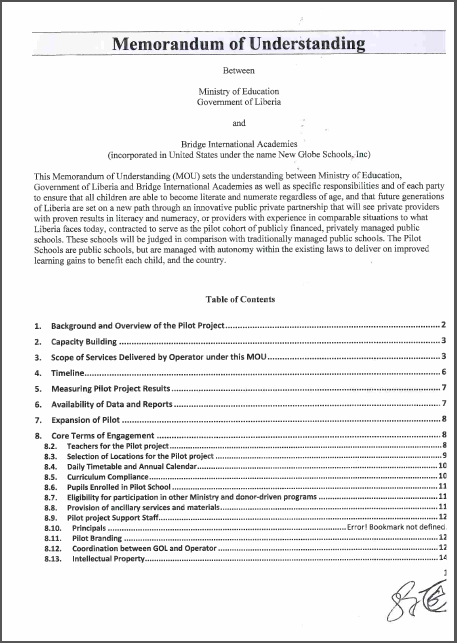 Memorandum of Understanding: Ministry of Liberia and BIA