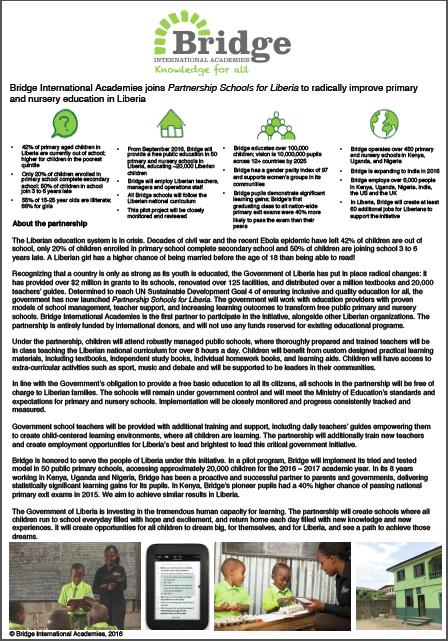 Fact Sheet: Bridge International Academies in Partnership Schools for Liberia