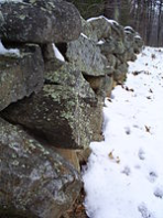 """Stone wall at Frost's farm in Derry, New Hampshire, which he describes in """"Mending Wall"""""""