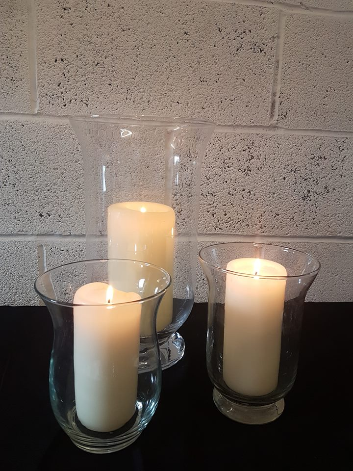 HURRICANE VASES AND CANDLES