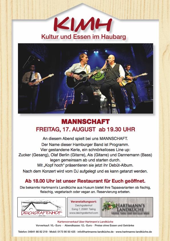 Kartenvorverkauf und Reservierungen über Hartmann's Landküche               info@hartmannslandküche.de -0173 90 50 425 - 04841 66 82 219 Wir freuen uns!