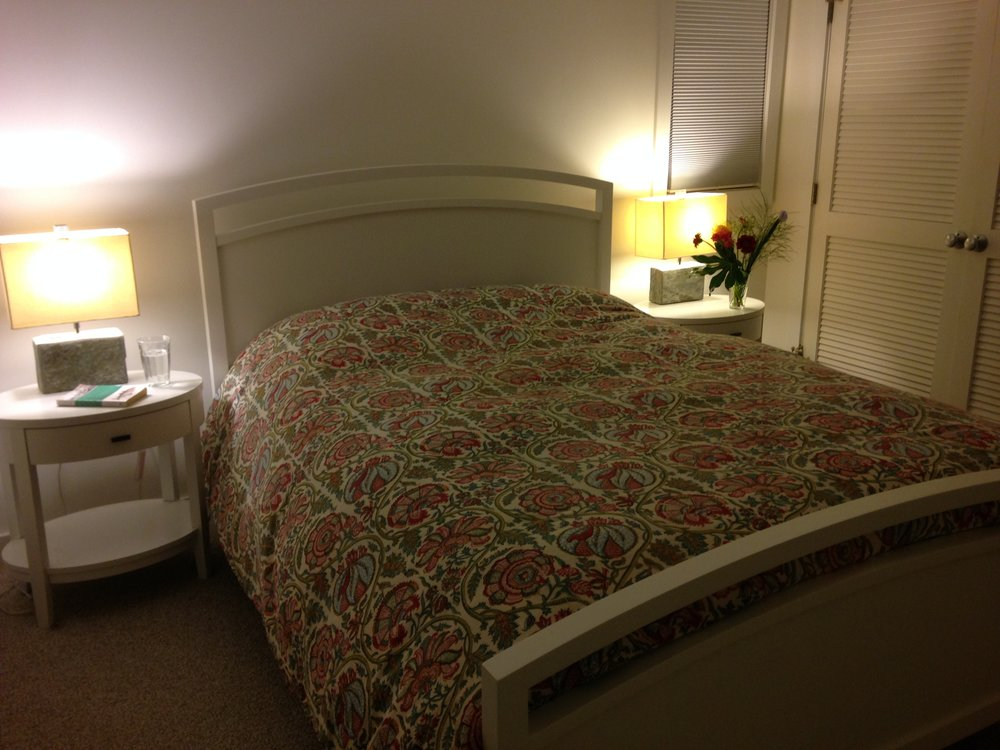 Downstairs master bedroom at night.