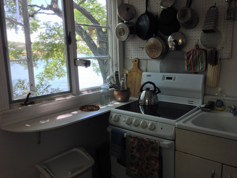 Kitchen at high tide. The room also contains a breakfast table and washer/dryer, not shown.