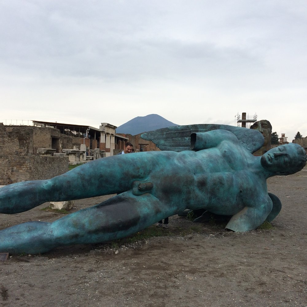 Seeing Mitoraj's Icarus at Pompeii was unforgettable. Why does this fallen god interest me so much? I've portrayed him in collage, print, paint. Maybe it's the hubris of those who feel omnipotent, yet who still crash to earth and die. I was thinking about that during the Women's March in Seattle when a giant papier maché Trump in chains was processed past.