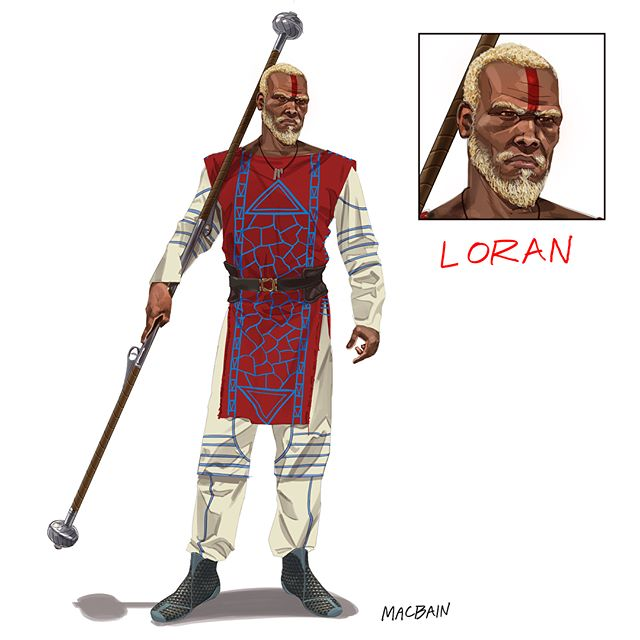 "Loran progresses from casual to battle ready.  Loran comes from a long line of peacekeepers called the Paladin who settled on Planet Tscho during the first wave of colonization. He drinks hallucinogenic tea to access dormant portions of the brain. These areas of the brain are developed in concert with the body to increase speed of movement, power, vision and bone strength. Loran and the Paladin are experiencing an ""awakening"" as they discover new powers of the mind they call Jun-Tu."