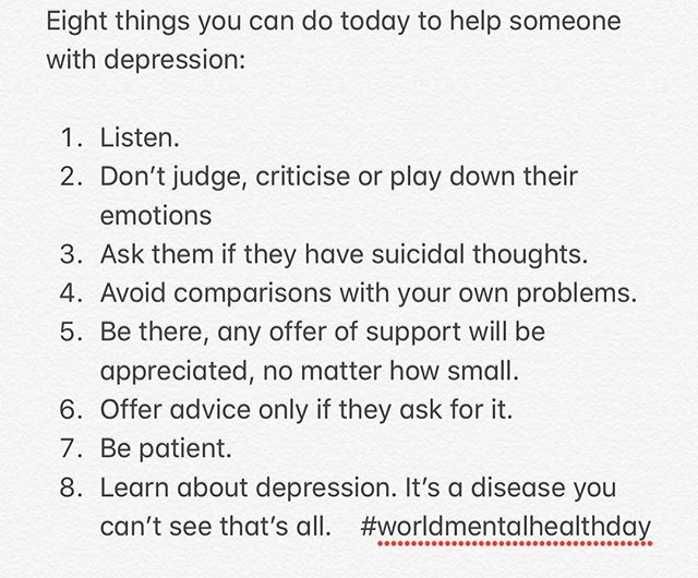 It's #worldmentalhealthday today and it's important we all take time out to consider the stigma any mental health disease has including depression which I've had to deal with throughout my life. Here are my tips you can take if you know someone who might need your help. #worldmentalhealthday2018 #depression #bethere