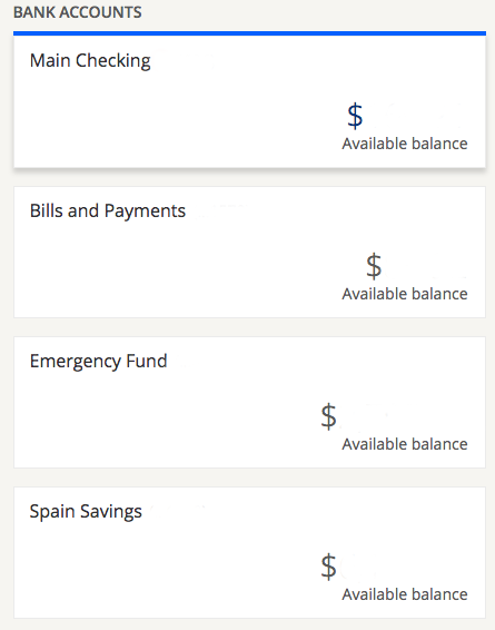 I currently have 2 checking and 2 savings accounts all with unique identifiers.