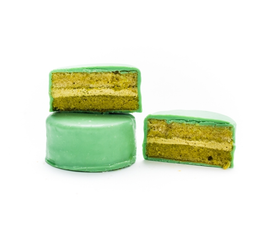 Matcha   Sweet dreams were made of tea. In this green chocolate-dipped Ring Ding both cake and cream filling are made from organic Japanese tea leaves. A matcha made in confection heaven!