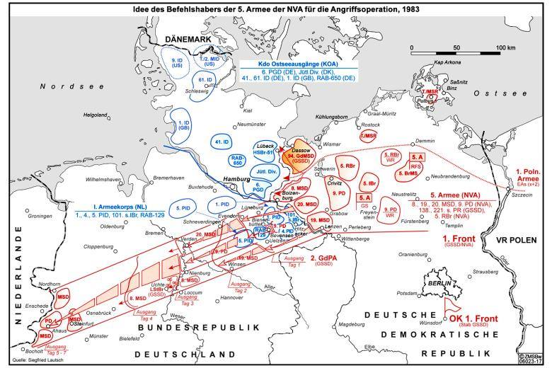 Map from 1983 showing what the planned movements of the East German  5. Armee  in World War 3 would be.