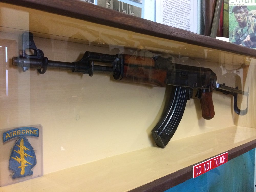 """The """"liberated"""" 1961 Kalashnikov AKS, later deactivated for display at the museum."""
