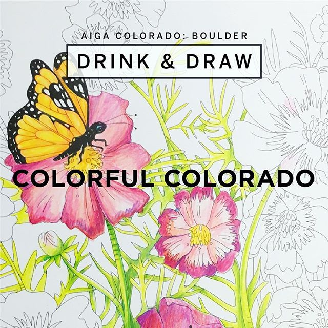 Yay! I'm pumped for tonight's Drink & Draw with @aigacolorado ✨Join us for libations, lots of supplies and coloring pages from 6-8 pm @therayback