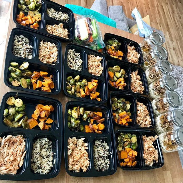 What this weeks meal prep looks like for my better half and I. Need recipes? Tips on affordable and easy meal planning? Check out my blog! ashleydouglaswellness.com 😋