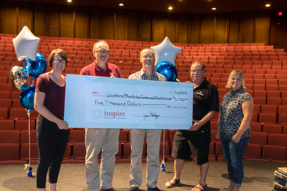 Western Manitoba Centennial Auditorium - Was awarded $5,000 to sponsor their first Performance Series that includes eight events throughout the 2018 -2019 season.