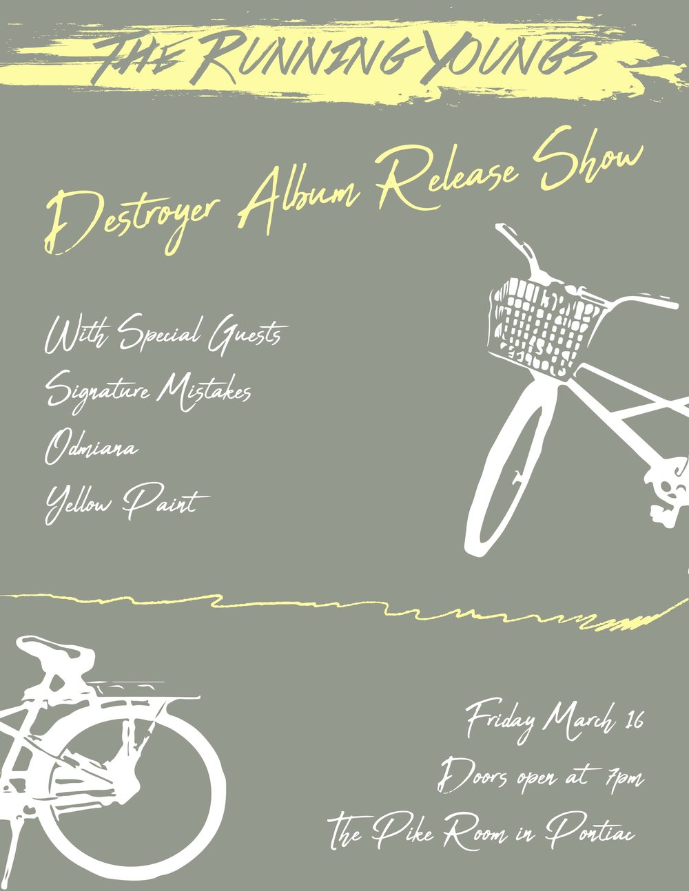 March 16th at the Pike Room - Destroyer Album Release   - With Special Guests Signature Mistakes, Odmiana, and Yellow PaintDoors at 7pm, tickets $10 pre, $12 day ofFacebook Event: https://www.facebook.com/events/1561850550579906/Tickets Online: https://www.ticketweb.com/t3/sale/SaleEventDetail?eventId=8023525&dispatch=loadSelectionData&pl=crofoot&edpPlParam=%3Fpl%3Dcrofoot