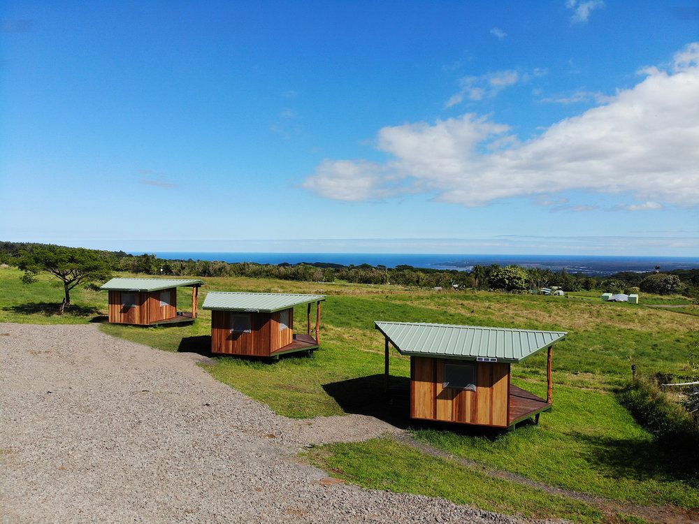 Ocean view cabins with shared kitchen and bathrooms, on our fully functioning farm.