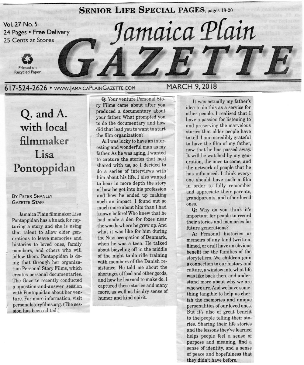 Scan of article printed in the Jamaica Plain Gazette