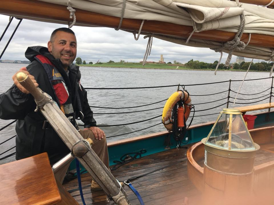Mike sailing Provincetown's Hindu from Cape Cod, Mass. to Key West, Florida