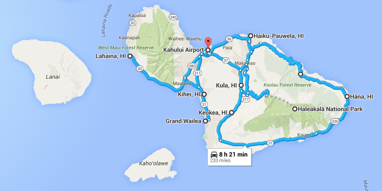 Maui Hawaii road trip map itinerary