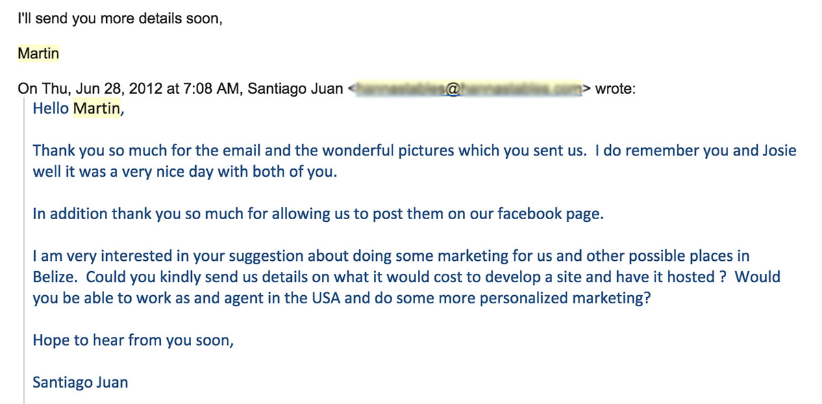 Sales marketing email