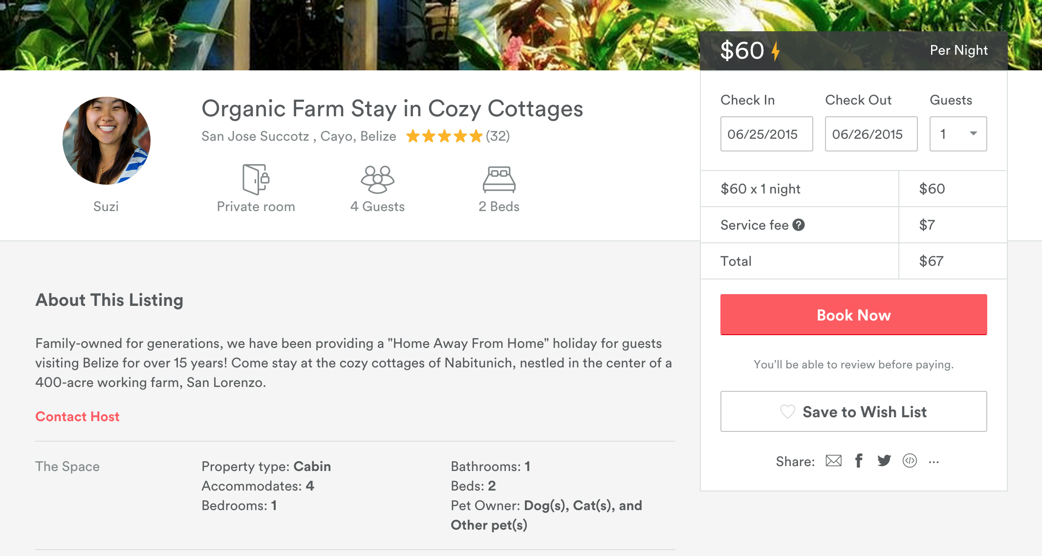 Hanna Stables Airbnb listing