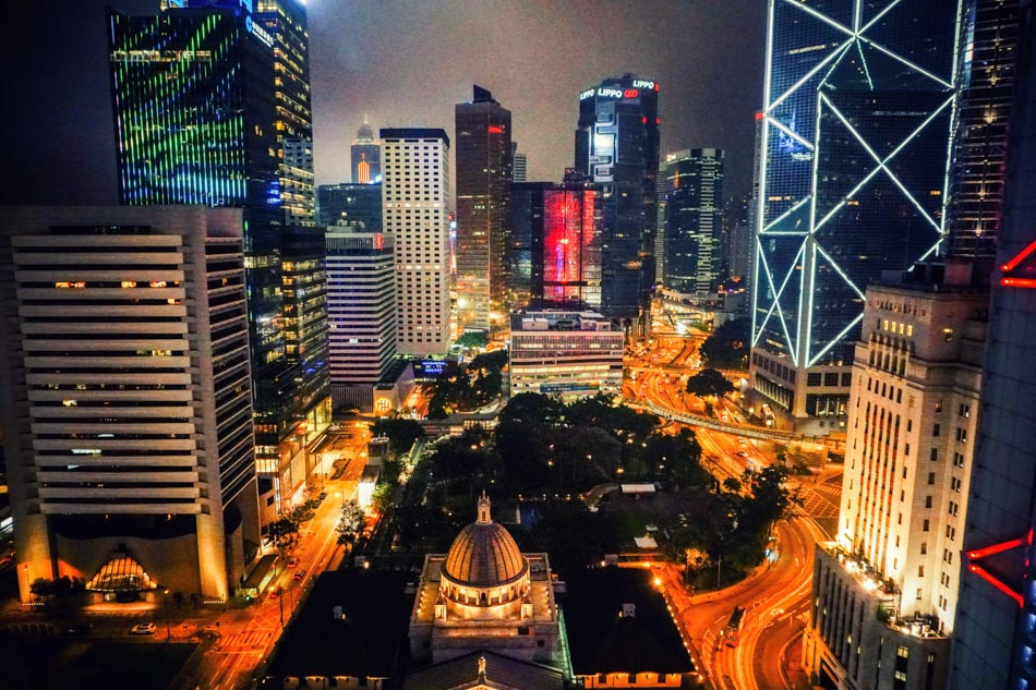 Hong Kong rooftop cityscape view