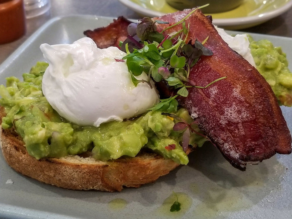 The delightful smashed avocado toast at Harvest.