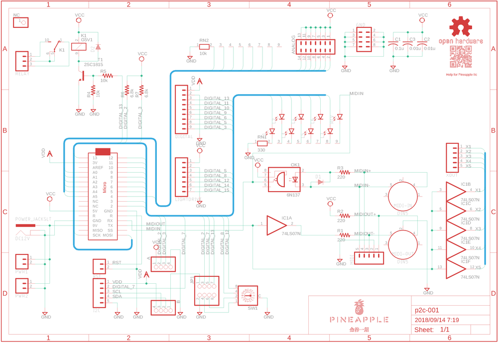 Schematic of Pineapple IIc (prerelease version). Please find out the latest version at GitHub.