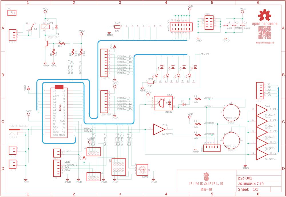 Schematic of Pineapple IIc (prerelease version)
