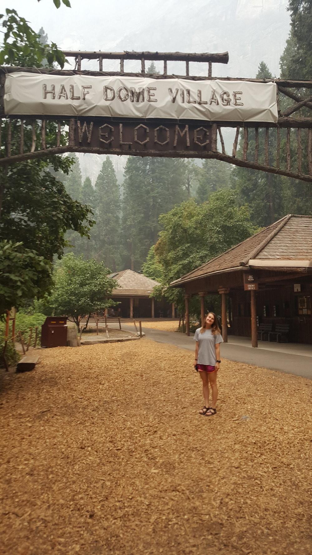 Half Dome Village sign feat. a clean Katie!