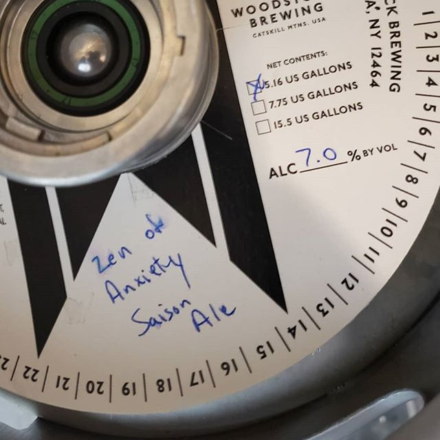 """Its Saison day! Join us in celebration with Woodstock Brewing's stellar Saison """"Zen of Anxiety."""" #growler #crowler"""