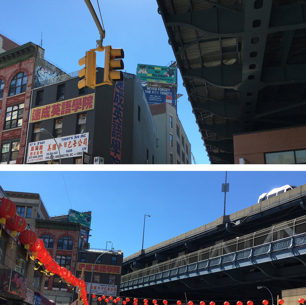 Manhattan Bridge at Henry St. in Chinatown, NYC
