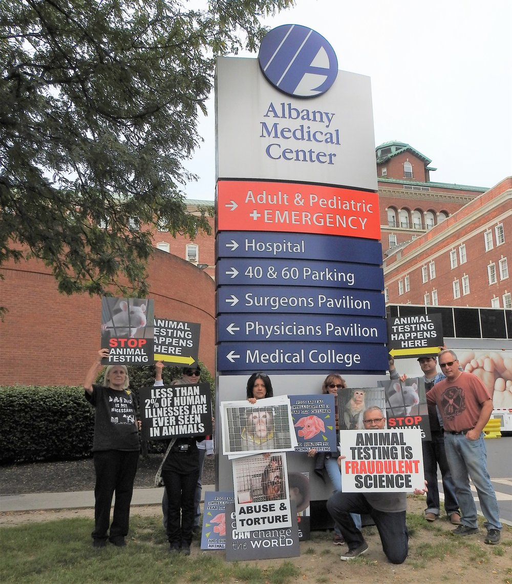 Vigil at Albany Medical Center where the college tests on animals.