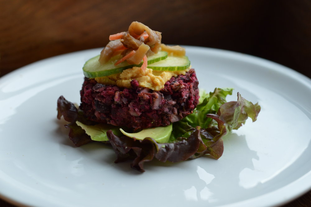 SPREAD IT ON A BURGER - This is a Black-Bean Beet Burger (I will share this recipe on my next post) topped with the Sweet Potato Spread, some cucumber and my fermented eggplant.  Sitting over some greens and avocado.  You can eat it like this or put it in a POPOVER.