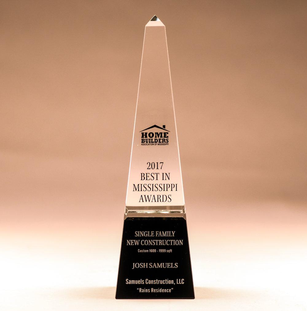 2017 Best in Mississippi Awards - WINNER: Best Single Family New ConstructionMid-Size Custom Homes