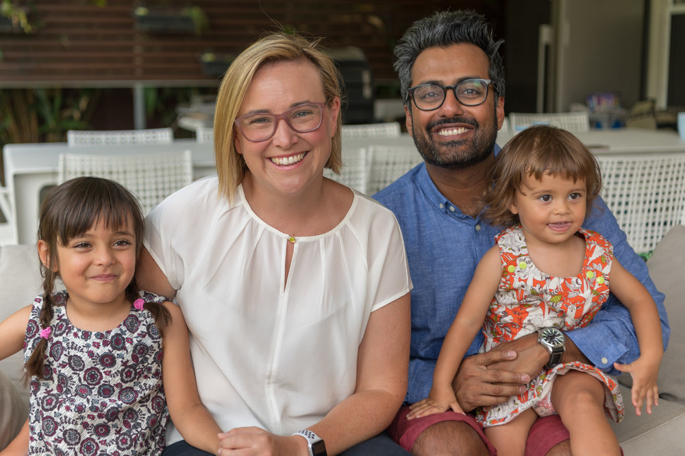 Jo with her family - husband Ravi and girls Gweny (5yrs) and Margot (2yrs)