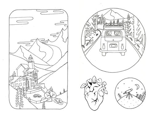 Below Are Sketches I Drew In Preparation For The Digital Illustration Outlining Basic Stylistic Components Of Final Piece