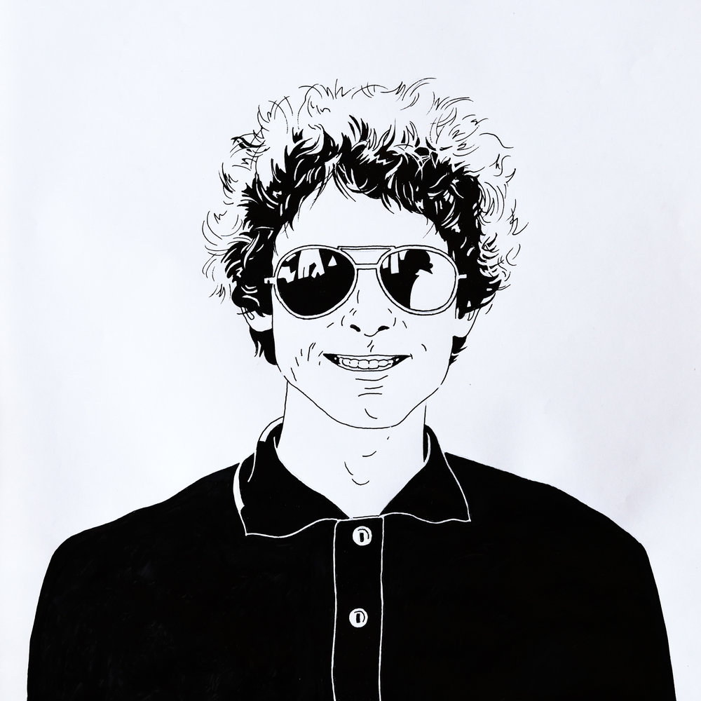 Black and white line drawing self portrait.