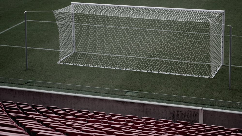 Soccer Net in empty stadium