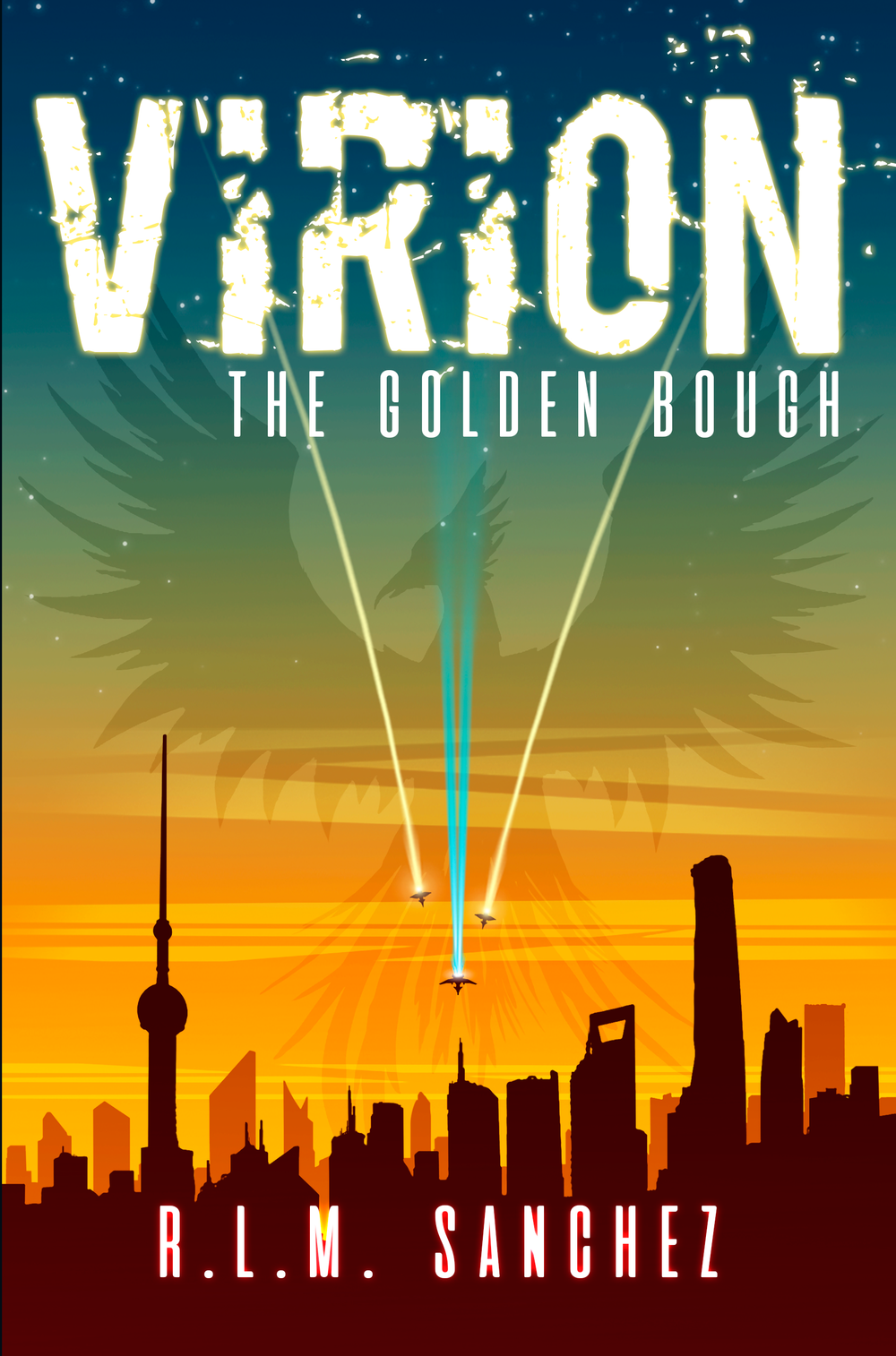 THE GOLDEN BOUGH (Book 2 Of the VIRION SERIES) - Now Available!300 million credits to the one who kills the Martian, but do the best bounty hunters in Freedom City even stand a chance?Earth Marshal Alan McKenna's investigation to find the Golden Bough detours when he apprehends a notorious hacker and tabloid nightcrawler, The Mad Black Hatter, whom informs him that the largest bounty in centuries has just landed on his head, paid by the Golden Bough itself. The hacker has connections to the Hasker Syndicate, a ring of illegal undercity information brokers that will aid him in uncovering the Golden Bough's illusive leader, for a price.Hot on the trail of the mysterious fighter craft that attacked the Earth Naval blockade, Sky Marshal Henry Stokertakes his search to Shanghai to find the fighter wing may have ties to the Tianlong Group, the largest aerospace defense contractor in the system. When he gets too close, the Golden Bough's leader, known only by his alias, The Commander, orders the Sky Marshal's termination. After an intense dogfight, Stoker finds the proof he is after, but to go toe to toe with one of the largest corporations may spell danger, even for a Marshal.The Commander remains hidden as he plots with bio-industrial giant ValiantCorp, funding research into his cure for the Black Cell while also securing an alliance with the notorious undercity gang, Wargame and with Naval commitment from Tianlong, he is laying his pieces for something sinister, but for what? To attack Earth? Or another entity entirely? Only McKenna can find out, but will he discover the plot and apprehend the Commander before it's too late? Or will Earth be left to another fate? Find out in The Golden Bough.
