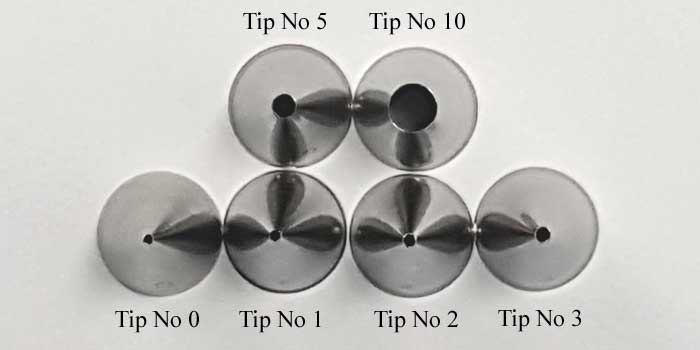 Size of Tip #0, #1, #2, #3, #5, #10