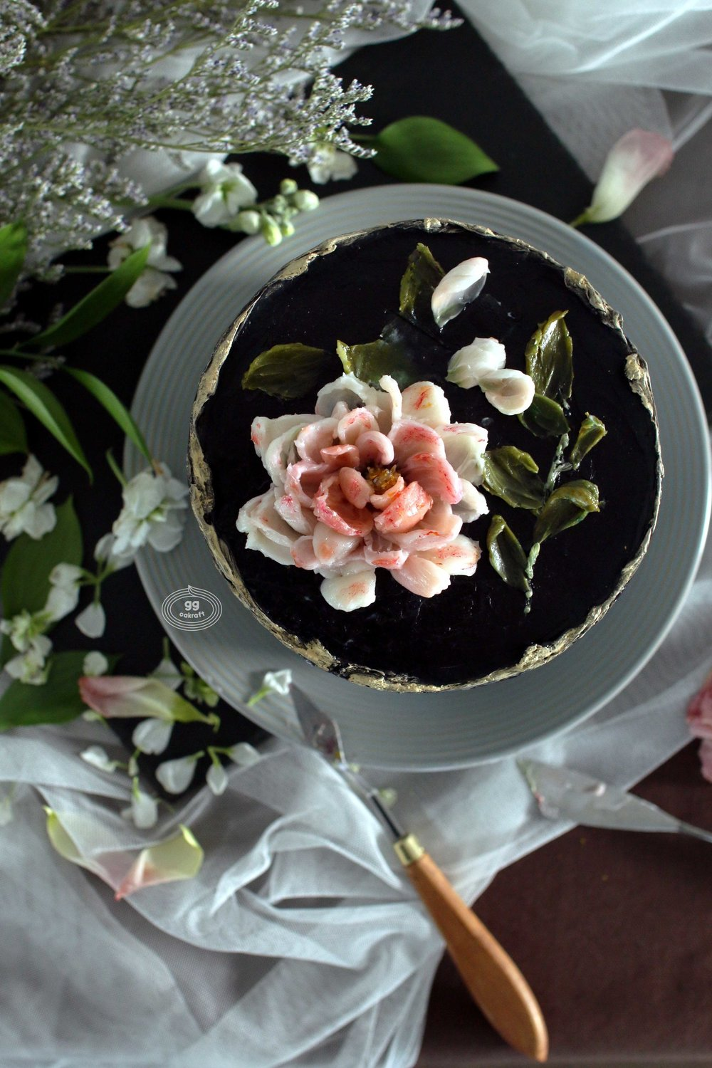 Day 2   Knife Art Flower (Real cake)  Peony, Rose, Cosmos, Various leaf expressions