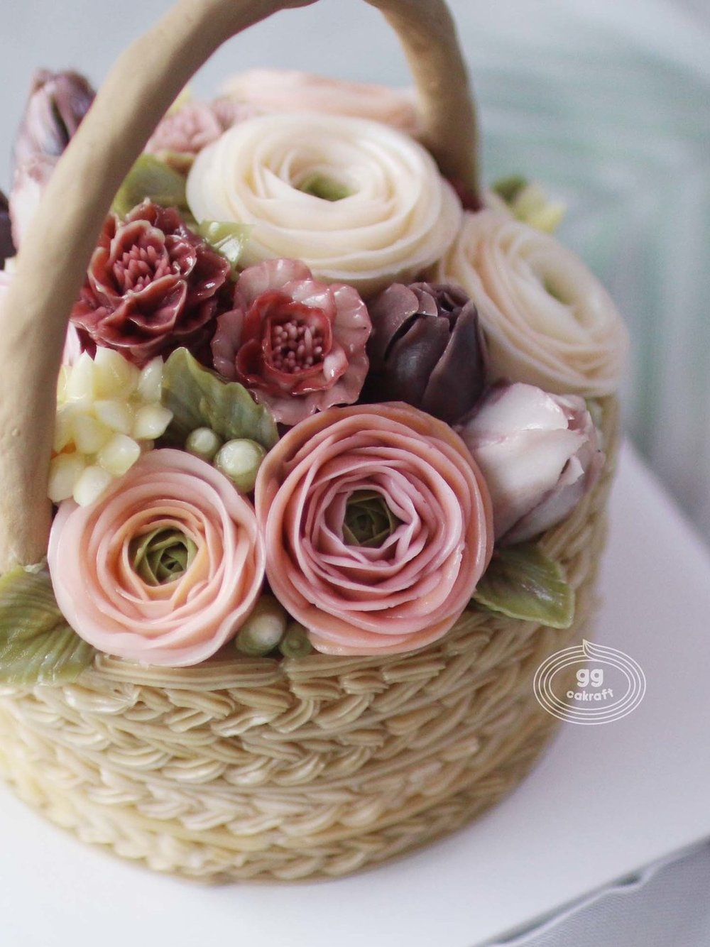 Day 3   - Basket cake with handle. (Real cake)  - Lisianthus, Marigold, bouvardia, 3D stem.