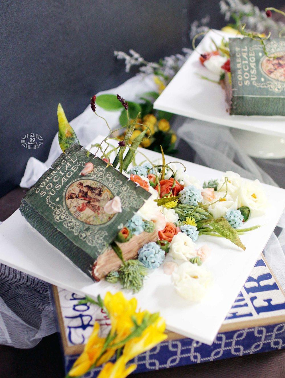 Day 4. Book cake   - Flower piping : Open-Peony, Closed-Peony, , Hydrangea, Delphinium, 3D stem, leaf.  - Edible bookcake