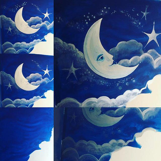 Mural in progress! #childrensbedroomdecor#bedroom#childrensroom#twinsroom#nurseryart#formydaughters#murals#cotswolds#painting#paintingonwalls#starsandmoon#moonandstars#nurserymural#paintedskies#paint#paintedhouse#decoratingbedrooms#mybusinessfamily#cheltenhamwomeninbusiness #mumboss#mumbossuk#cheltenhammaman#thecolourclub2018